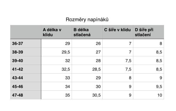 tabulka rozměrů napínáky